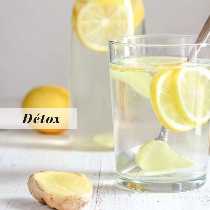 Recette d\'eau détox citron-gingembre <br>