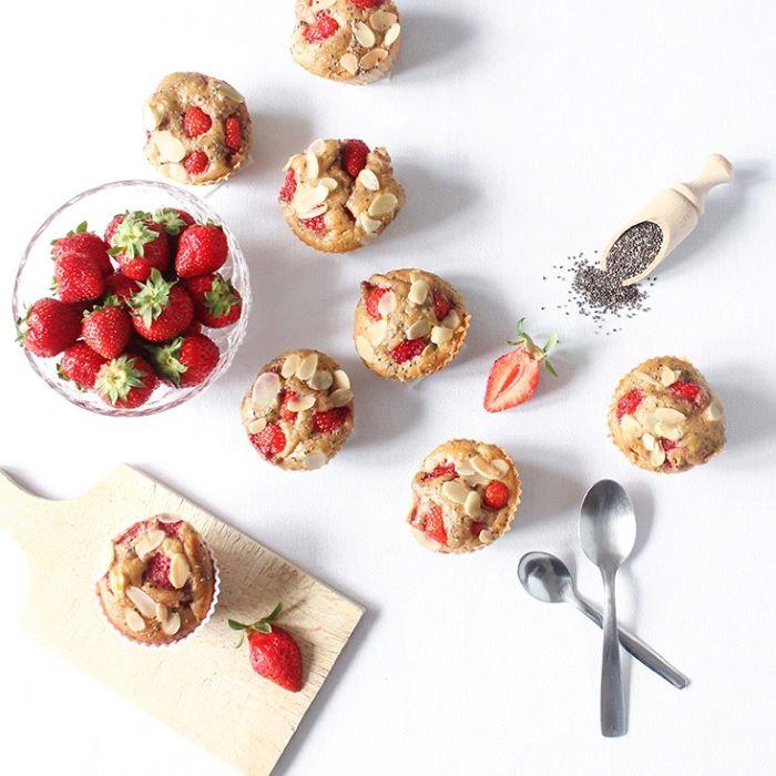 Recette de muffins aux fraises et graines de chia <br>