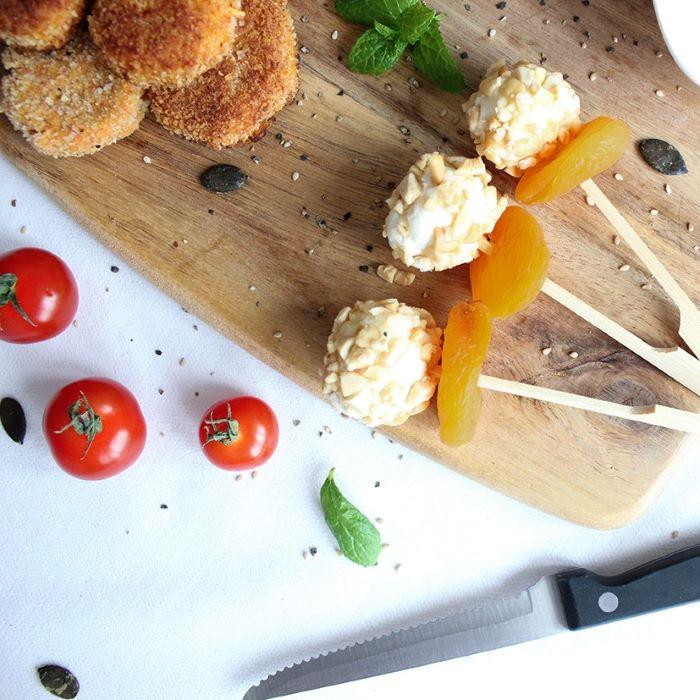 Recette de brochettes sucrées/salées chèvre/abricot <br>